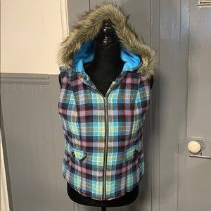Mossimo Supply Co. Plaid Vest w/ Removable Hood
